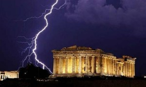 parthenon lightning
